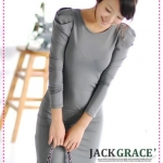 เดรสแขนยาวเข้ารูปสีเทา JackGrace intellectual interpretation! Delicate bud sleeves Slim dress