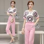 ชุดเซ็ทเสื้อ+กางเกงห้าส่วนสีชมพู