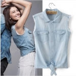 [Preorder] เสื้อยีนส์แฟชั่นแขนกุด สีฟ้า (ไซส์ S M L) 2014 new models in Europe and America with high round retro casual shirts sleeveless denim vest short paragraph