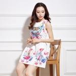 [Preorder] เดรสแฟชั่นสไตล์เกาหลีแขนกุด ปักลายนกฮูกและดอกไม้ สีขาว 2015 spring female Korean version of the new high-end art Fan jacquard sleeveless dress Slim thin printed A-line dress