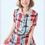 เสื้อเชิ๊ตแขนสั้นลายตารางสีสดใส 2012 summer new lace collar waist strap plaid shirt
