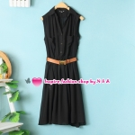 เดรสแขนกุดสีดำพร้อมเข็มขัด Spring and summer fashion European style with a belt, sleeveless chiffon dress lapel Slim temperament vest dress