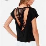 [Preorder] เสื้อแฟชั่นแขนสั้นสายไขว้หลัง สีดำ (ไซส์ XS - XXL) Multi-strand cross back straps solid round neck short bat sleeve knit crew neck T-shirt