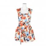 [Preorder] จั๊มสูทแฟชั่นขาสั้นแบรนด์ lily brown lena ลายดอกไม้ สีส้ม Japanese lily brown lena Taiwan sleeveless halter waist line Floral Jumpsuit