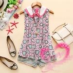 [Preorder] เสื้อแฟชั่นแขนกุดสกรีนลายเก๋ๆ ปกสองชั้น สีชมพู 2013 Hitz Korean women doll collar mixed colors printed sleeveless chiffon shirt I