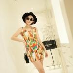 [Preorder] เดรสแฟชั่นแขนกุดสำหรับสาวไซส์เล็ก ลาย cell สีน้ำตาล 2013 summer new super wild multicolor Korean Women Long Vest