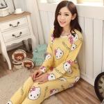 [Preorder] ชุดนอนแฟชั่น Hello Kitty เสื้อแขนยาวกางเกงขายาว สีเหลือง (ไซส์ M L XL) hellokitty cat pajamas female summer cartoon hello kitty cotton short-sleeved suit tracksuit woman