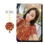 [Preorder] เสื้อแฟชั่นแขนสั้นรับลมร้อนสีสดใสลาย geometric สีส้มเรืองแสง Korea fluorescent colors geometric short-sleeved T-shirt