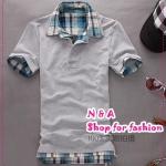 เสื้อโปโลแขนสั้นสีเทา Summer 2012 New Men's T-shirt Slim false two T-shirts Korean men's fashion TEE tide