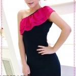 เดรสป้ายไหล่ระบายสีชมพู whine ~ bright chiffon splicing oblique Dress