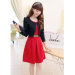 [Preorder] เดรสทำงานแฟชั่นแขนกุดสีแดง + เสื้อคลุมแขนยาวสีดำ (ไซส์ M L XL XXL) Early autumn 2014 autumn and winter women's two-piece dress suits long sleeve suit jacket Slim bottoming vest skirt