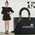 กระเป๋าถือพร้อมสายยาว เย็บลายตาราง เรียบหรูสไตล์ Dior lady สีดำ