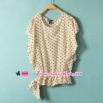 เสื้อแฟชั่นแขนสั้นระบายลายจุดสีเบจ Summer new European style retro Polka Dot shirts small fresh and sweet Slim thin short-sleeved shirt