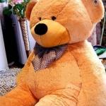 ตุ๊กตาหมียิ้มผูกโบว์ Teddy 1.8 เมตร สีน้ำตาลอ่อน ตุ๊กตาตัวใหญ่น่ารักน่ากอด