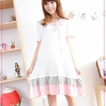 เดรสคลุมท้องหวานๆ สำหรับคุณแม่มือใหม่ Maternity summer 2012 new pregnant women knit three-color skirt Korean fashion pregnant women dress is fresh and sweet