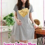 เดรสคลุมท้องแขนสั้น Love Love สีเทา 2012 New Maternity summer Korean love irregular hem dress pregnant women dress
