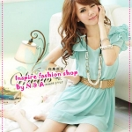 เดรสแขนสั้นระบายสีเขียวอ่อน Spring and summer of 2012 the new Women Korean sweet beaded flounced short-sleeved chiffon dress