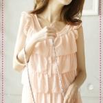 [พร้อมส่ง] เสื้อแฟชั่นแขนกุดระบายชั้นๆ สีส้ม Hole lotus leaf flower cake shirt Tokyo fashion 100%