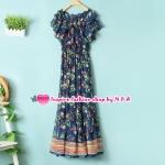 เดรสยาวลายดอกไม้สีน้ำเงิน Female spring and summer color printing tape wear elegant dress Slim temperament princess favorite dress