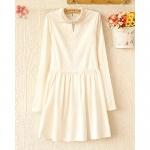 [Preorder] เดรสแฟชั่นแขนยาวสไตล์ยุโรปประดับไข่มุก 2013 summer new Korean fashion pearl decorative collar long-sleeved waist dress