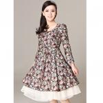 [Preorder] เดรสแฟชั่นแขนยาวลูกไม้ลายดอกไม้เก๋ๆ สีเขียว 2013 spring models Women Korean version of the high waist long-sleeved lace retro floral princess dress