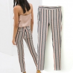 [Preorder] กางเกงขายาวแฟชั่นลายทาง แบรนด์ ZARA (size S M L XL) ZARA MICN summer 2014 women's new European style red and blue striped trousers casual pants pants female feet