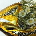 ผ้าพันคอ ผ้าคาดผมเนื้อไหมญี่ปุ่น : ลายเสือสีเหลืองคัสตาร์ต