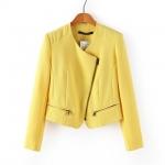 [Preorder] เสื้อแจ๊กเก็ตสูทแขนยาวแฟชั่น แบรนด์ ZARA สีเหลือง (ไซส์ S M L) ZARA MICN Women 2014 Hitz European and American style yellow diagonal zipper jacket blazer jacket