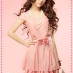 เดรสแขนสั้นสีชมพู pairs of rose creased wave dress