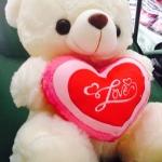 """ตุ๊กตาหมีบอกรัก กอดหัวใจ ปักลาย """" Love """" ขนาด 40 CM สีขาว"""