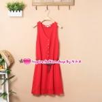 เดรสแขนกุดกระดุมหน้าสีแดงพร้อมเข็มขัด 2012 spring and summer new Korean fashion solid color vest dress with belt Slim temperament chiffon dress