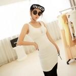 [Preorder] เดรสแฟชั่นแขนกุดสำหรับสาวไซส์เล็ก สีพื้นขาว 2013 summer new super wild multicolor Korean Women Long Vest
