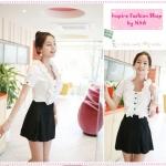 [Preorder] เสื้อแฟชั่นแขนสั้นสีขาวประดับกลีบใบบัวด้านหน้า 2012 summer new Women Korean version of sweet lace lotus leaf collar bow buttoned shirt quality