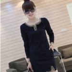 [Preorder] เดรสแฟชั่นแขนยาวเข้ารูปคอวี สีน้ำเงิน 2012 the new thickened models of the winter section classic dress V-neck long-sleeved Slim wild dress