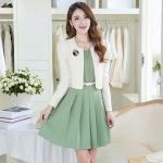 [Preorder] เดรสทำงานแฟชั่นแขนกุดสีเขียว + เสื้อสูทแฟชั่นแขนยาว (ไซส์ M L XL 2XL) Fall and winter long-sleeved dress two-piece dress skirt suit jacket suit OL temperament Slim lady bottoming skirt