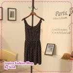 เดรสแขนกุดลายจุดสีดำ 2012 spring and summer the subsection sweet retro wave point doll collar dot suspenders Tunic Dress