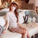 ♥♥ พรีออเดอร์ ♥♥ ชุดเดรสคู่กับเสื้อลูกไม้ตัวนอกสีขาว ชุดเดรสตัวในลายดอกสวยๆ