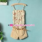 จั๊มสูทแฟชั่่นสายเดี่ยวกางเกงสีกากีพร้อมเข็มขัด 2012 spring and summer new female Korean fashion stitching piece shorts with belt temperament sweet piece pants