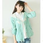 [Preorder] เสื้อแจ๊กเก็ตแฟชั่นแขนยาว ลายดอกไม้สีเขียว 2014 new Autumn Japanese Sen female cardigan button-style floral appliqué wide Songlei Si cotton long-sleeved jacket