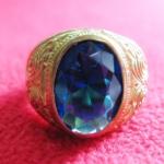 สินค้าหมดค่ะ แหวนพลอยไพลินน้ำเงินเนื้อทองเหลือง(ราศีกุมภ์,กันย์,ตุลย์)แบบเล็กค่ะ