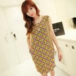 [Preorder] เดรสทำงานแฟชั่นแขนกุด ลาย Retro Round สีม่วงเขียว 2013 summer new Korean Women stretch pocket retro suit short-sleeved dress