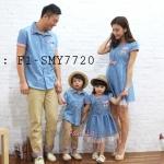 ชุดครอบครัว เสื้อครอบครัว ลายสมอ พ่อลูกเสื้อเชิ๊ตคอปก แม่ลูกเดรสสั้นคอกลม (ราคา 3 ตัว พ่อ แม่ ลูกสาว) - พร้อมส่ง