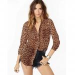 [Preorder] เสื้อเชิ๊ตแฟชั่นแขนยาวสไตล์ยุโรปลายเสือดาว สีน้ำตาล (ไซส์ XS S M L XL XXL) RICHCOCO Europe and America Fan loose sexy leopard chest pocket decoration through a sense of long-sleeved chiffon shirt dovetail