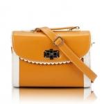 [Preorder] กระเป๋าสะพายข้างแฟชั่นเก๋ๆ สไตล์ Retro สี Bright Yellow (เหลืองส้ม) 2013 new handbag shoulder bag handbag Messenger bag handbags Korean sweet little fresh influx of women bags