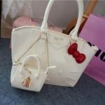 [Preorder] กระเป๋าสะพายข้าง Hello Kitty สีขาว (2 ใบ - ใบใหญ่ และ ใบเล็ก) 2015 New hello kitty Hello Kitty handbag shoulder bag diagonal female bag cute three-dimensional picture package