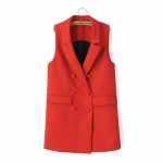 [Preorder] เสื้อสูทแฟชั่นแขนกุดสไตล์ยุโรป สีแดง (ไซส์ XS S M) Cotton Village Women 2015 Hitz European and American style red double-breasted long coat female vest