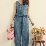 จั๊มสูทยีนส์แขนกุดขายาว Spring and summer of 2012 the Korean version of the new Women rivets waist tie denim coveralls pants strap trousers