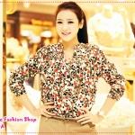 เสื้อเชิ๊ตแฟชั่นแขนยาวสกรีนลายหัวใจสีแดง 2012 spring and summer burst models in Europe and America hearts V neck chiffon silk shirt summer yards
