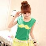 [Preorder] เสื้อยืดแฟชั่นแขนสั้น ลายลุงหนวดประดับลูกปัด สีเขียว new Korean temperament sequined shoulder pads beard handmade beads Slim solid color sleeveless T-shirt