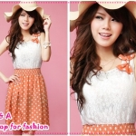 [Preorder] เดรสแขนกุดแฟชั่นสีส้ม sweet Korean splicing Leisi Bo point bow corsage dress